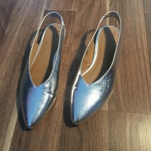 BRAND NEW- A NEW DAY- SZ 8- Silver Ballet flats